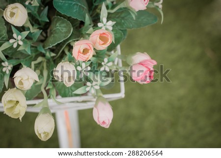Artificial flowers for home decor(soft focus) - stock photo