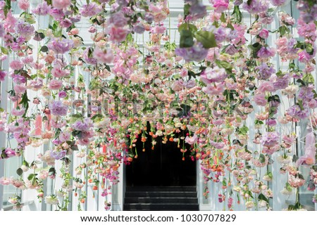 artificial flowers hanging ceiling stock photo royalty free 1030707829 shutterstock. Black Bedroom Furniture Sets. Home Design Ideas