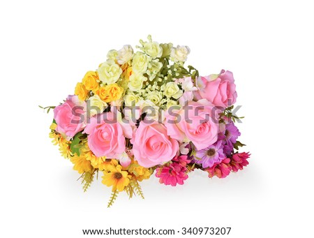 Artificial flowers isolated on White background. This has clipping path.