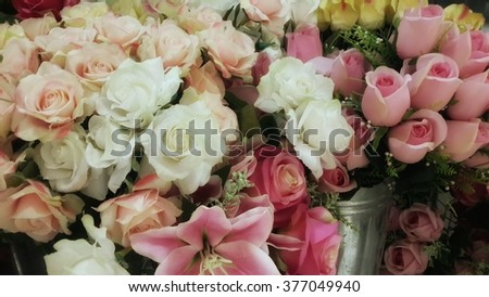 Artificial Flowers were display in shop, adjust color look like vintage style