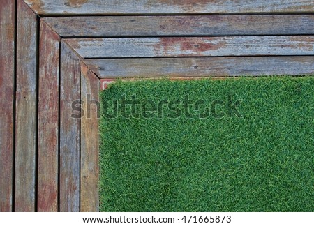 artificial grass and wooden
