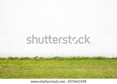 Artificial grass field and wall - stock photo