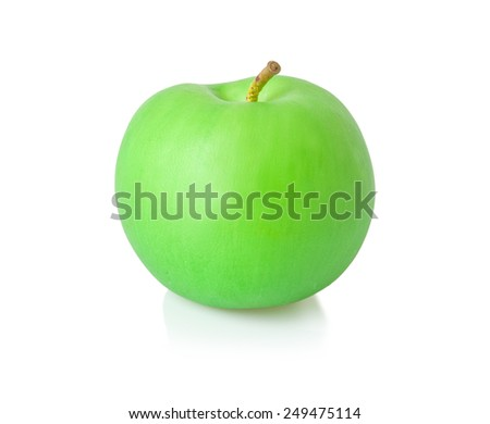 Artificial green apple isolated on white background.
