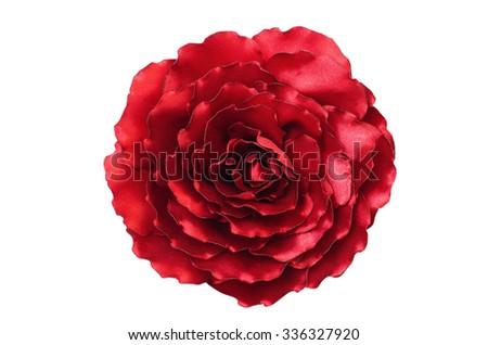 Artificial handmade flower, isolated on white background - stock photo