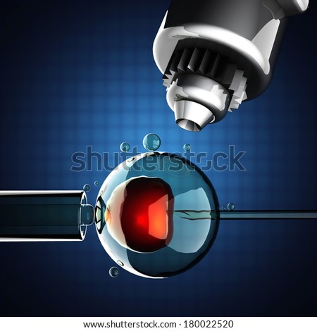 artificial insemination on blue background - stock photo