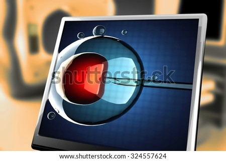 artificial insemination on blue background at monitor - stock photo