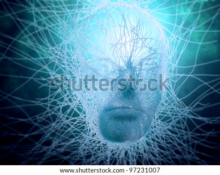 Artificial intelligence concept - abstract face build out of strings - stock photo