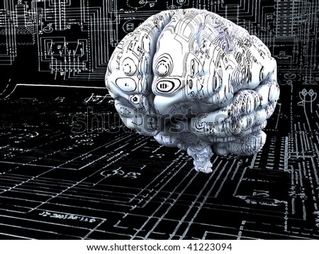 Artificial Intelligence concept. Brain over the mainboard or electronic circuits - stock photo