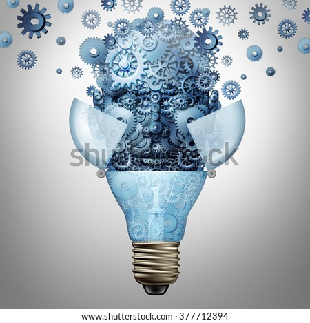 Artificial intelligence ideas as a robot head symbol made of gears and cog wheels emerges out of an open light bulb or lightbulb as an icon of highly advanced creative computing technology. - stock photo