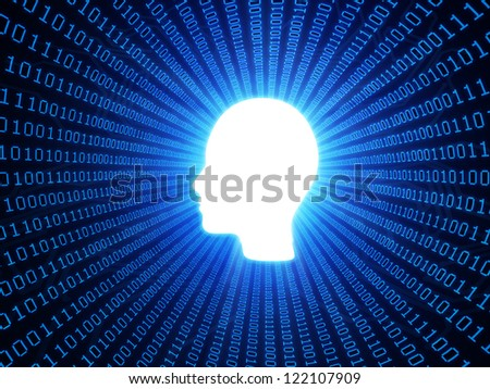Artificial intelligence or personal data concept with binary background