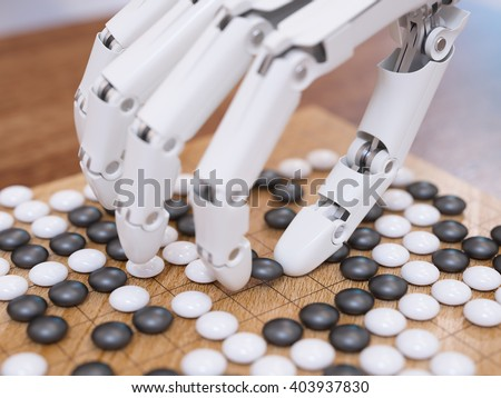 Artificial intelligence playing traditional board game Go concept 3D illustration