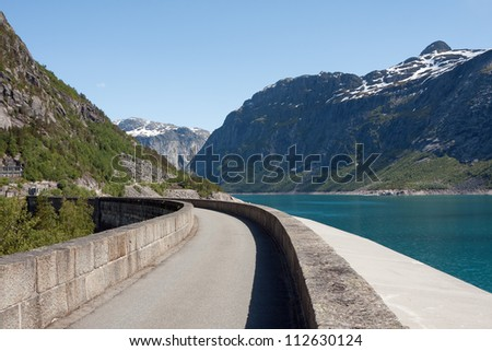 Artificial lake Ringedalsvatnet (Tyssedal, Norway) - stock photo