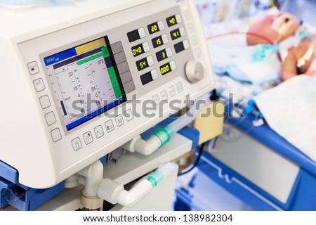 Artificial lung ventilation in pediatric ICU - stock photo