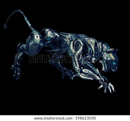 Artificial model of panther / Futuristic robotic beast of prey on black - stock photo