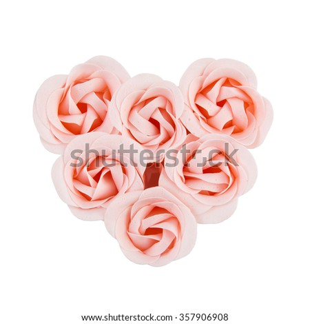 artificial pink roses  heart shape