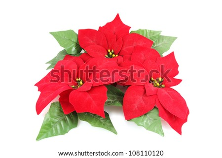 Artificial Poinsettia isolated on white background
