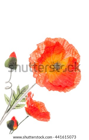 Artificial poppy flowers on white selective stock photo safe to use artificial poppy flowers on white with selective focus on the biggest flower and copy space mightylinksfo