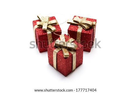 Artificial red gift boxes decorated