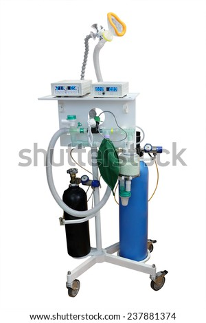 artificial respirating unit isolated under the white background - stock photo