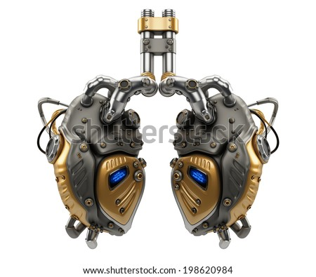 Artificial robotic internal organ - steel lungs with sensors / Lung Protocol Systems - stock photo