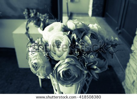 Artificial roses beautiful flowers with filter coler effects ,Vintage - stock photo