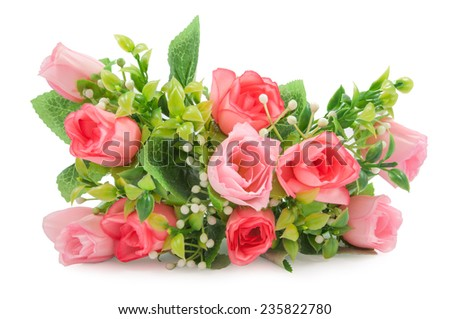Artificial roses Bouquet on white background - stock photo