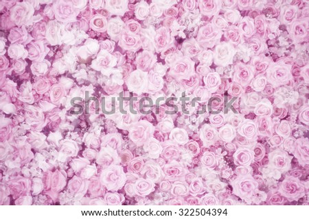 artificial roses in sweet pink color, soft focus - stock photo