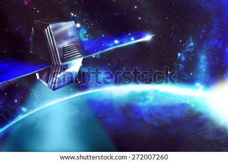 Artificial satellite and radio communications with the planet. Digital drawing. - stock photo