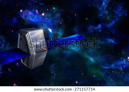 Artificial satellite or spacecraft in space. Computer graphics. - stock photo