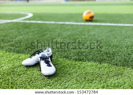 Artificial turf football - stock photo