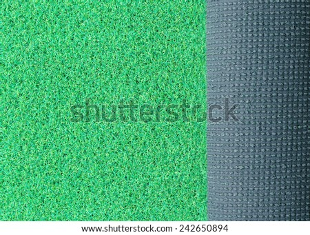 Artificial turf green grass roll - stock photo