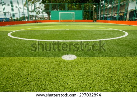 Artificial turf soccer field - stock photo