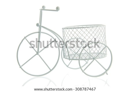 artificial vintage bicycle on white background