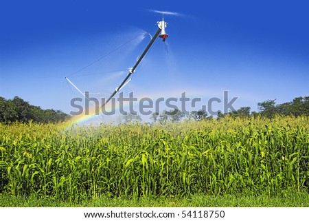 Artificial watering corn. spraying equipment.