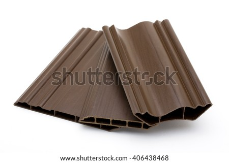 artificial wood  Made from plastic fiber mixed with wood - stock photo