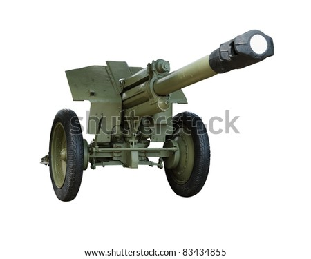 Artillery gun of the Second World War, isolated on a white background - stock photo