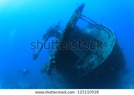 Artillery Gun on stern of SS Thistlegorm shipwreck - stock photo