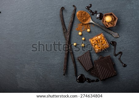 Artisan chocolate food background with copy space - stock photo