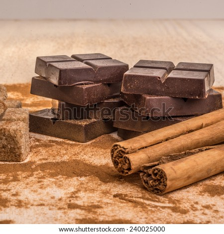 Artisan chocolate with some of the ingredients that goe in to these chocolates.