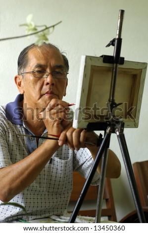 Artist at work - stock photo