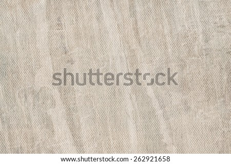 Artist Bluish Gray Primed Linen Duck Canvas, coarse grain, bleached, mottled, stained grunge texture. - stock photo