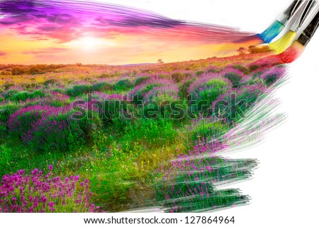 artist brush painting picture of beautiful landscape - stock photo
