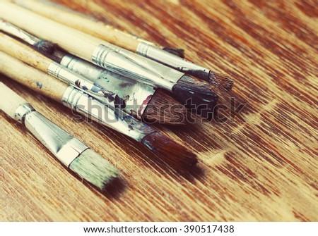 artist brushes - stock photo