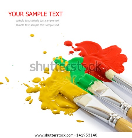 Artist brushes and colorful paints - stock photo