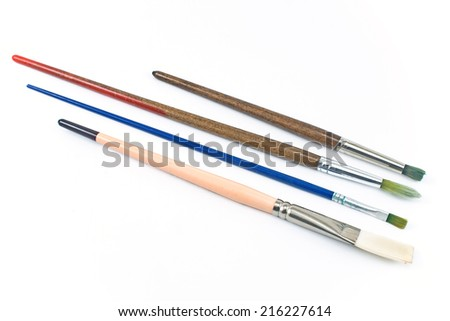 Artist brushes isolated on white background - stock photo