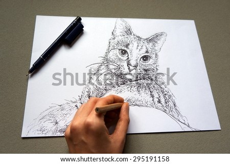 Artist drawing a cat - stock photo