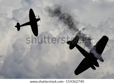 Artist impression of a scene from the battle of Britain that raged in 1940 during World War 2. British fighters attacking German bombers. - stock photo