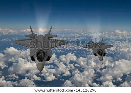 Artist impression of 2 F-35  Aircraft at 30,000ft altitude over a cloudy sky. - stock photo