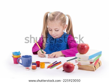 artist kid girl painting over white background  - stock photo