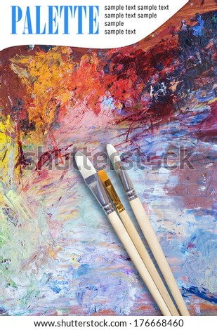 Artist palette and paint brushes (poster) - stock photo